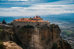 Meteora monasteries, the Holy Monastery of Varlaam at foreground, Greece Stock Image