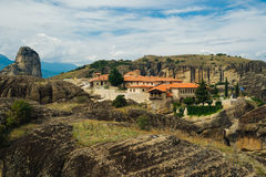 Meteora monasteries, the Holy Monastery of Varlaam at foreground, Greece Royalty Free Stock Photography