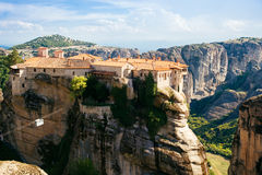 Meteora monasteries, the Holy Monastery of Varlaam at foreground, Greece Royalty Free Stock Photo