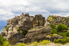 Meteora monasteries, incredible sandstone rock formations. Stock Photos