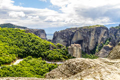 Meteora monasteries, incredible sandstone rock formations. Royalty Free Stock Photography
