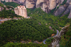 Meteora Monasteries 3. Mountain view Meteors, on top of which are the monasteries Royalty Free Stock Photography