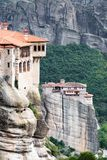 Meteora monasteries in rock formation and landscape, Meteora, Gr royalty free stock image