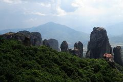Meteora, monasteries on rocks in Greece. The geological formations and monasteries on the rocks in MEteora in Greece Stock Photo