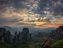 The Meteora monasteries at sunset royalty free stock photos