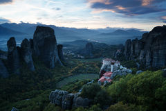 Meteora monasteries after sunset Royalty Free Stock Images