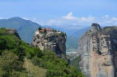 Meteora Monastery. Beautiful view on Monasteries of Meteora on the edge of high rock, Kastraki, Greece stock photography