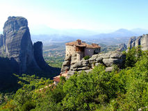 Meteora Monastery. Monastery of Meteora on the Cliffs high above the Ground in Greece Royalty Free Stock Image