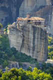 Meteora monastery at dusk, Greece Royalty Free Stock Images