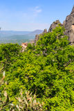 Meteora monastery on the high cliff, Greece Stock Images