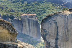 Meteora monastery on the high rock Royalty Free Stock Photo