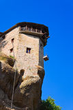 Meteora monastery and lift cage in Greece Royalty Free Stock Image