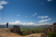Meteora monastery panorama Stock Photography