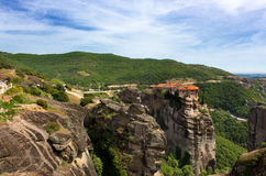 Meteora monastery panoramic view. Meteora monasteries placed on top of the mountains in Thessaly, Greece Royalty Free Stock Photos