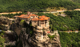 Meteora monastery panoramic view. Meteora monastery placed on top of the mountains in Thessaly, Greece Stock Image