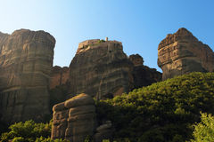 Meteora monastery on rocks in morning light, Greece Stock Image