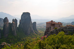 Meteora and The Monastery of Rousanou Stock Photos