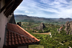 Meteora monastery view from a window. View from a meteora monastery placed on top of the mountains in Thessaly, Greece Royalty Free Stock Photography