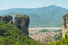 Meteora. Monastery which is build on top of a mountain located in greece Stock Images