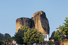 The Meteora mountains in Greece at sunset Stock Photos