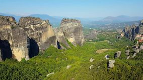 Meteora mountains stock video footage