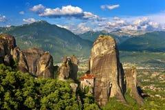 Meteora, o monastério de Rousanou Imagens de Stock