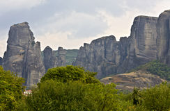 Meteora peaks at Kalambaka in Greece Royalty Free Stock Photo