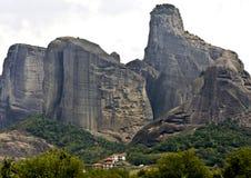Meteora peaks at Kalambaka in Greece Stock Photos