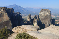 Meteora peaks at Kalambaka, Greece Royalty Free Stock Photography