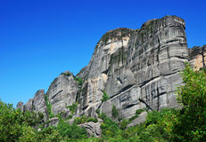 Meteora rock cliffs in Greece Royalty Free Stock Photo