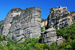 Meteora rock cliffs in Greece Stock Photos