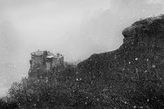 Fine Art, Black and White winter scene in Meteora Eastern Orthodox monasteries, Greece. The Meteora is a rock formation in central Greece hosting one of the royalty free stock photos