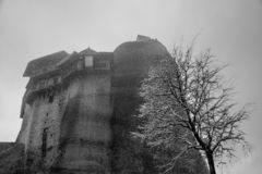 Fine Art, Black and White winter scene in Meteora Eastern Orthodox monasteries, Greece. The Meteora is a rock formation in central Greece hosting one of the stock photos