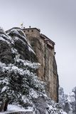 Fine Art,  winter scene in Meteora Eastern Orthodox monasteries, Greece. The Meteora is a rock formation in central Greece hosting one of the largest and most stock images