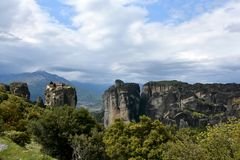 Meteora monastery, spectacular landscape with buildings on the t Stock Image