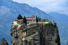 Meteora monastery, spectacular landscape with buildings on the t Royalty Free Stock Photo