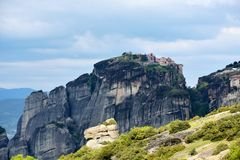Meteora monastery, spectacular landscape with buildings on the t Royalty Free Stock Image
