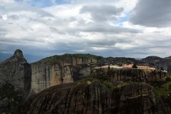 Meteora monastery, spectacular landscape with buildings on the t Royalty Free Stock Photography