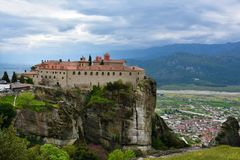 Meteora monastery, spectacular landscape with buildings on the t Royalty Free Stock Photos