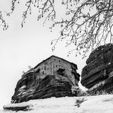 Fine Art, Black and White winter scene in Meteora Eastern Orthodox monasteries, Greece. The Meteora is a rock formation in central Greece hosting one of the royalty free stock images
