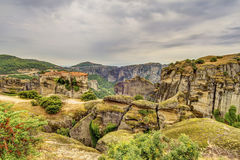 Meteora rock formations and monasteries Stock Image