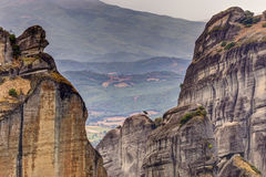 Meteora rock formations and monasteries Royalty Free Stock Photos