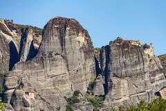 Meteora rock monastery complex in Greece, a UNESCO-listed site. View of Meteora rock monastery complex in Greece, a UNESCO-listed site Royalty Free Stock Photo