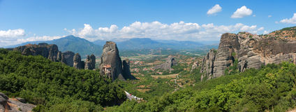 Meteora rock panorama Stock Images