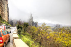 Meteora. Rocks and fog Royalty Free Stock Photo