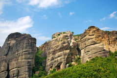 Meteora rocks,Greece. Famous for its unusual rocks with ancient orthodox monasteries Stock Photos