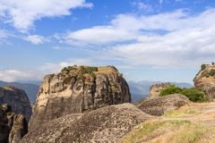 Meteora rocks - Greece - 17 -. Meteora is an area of Central Greece where a series of monasteries are built on top of natural sandstone rock pillars. In this royalty free stock photos