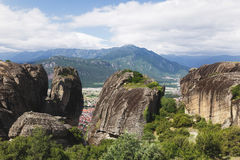 Meteora rocks and Kalambaka city below the Meteora rocks Royalty Free Stock Photo