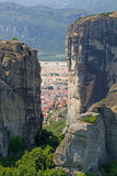 Meteora Rocks and Kalampaka Town Royalty Free Stock Images