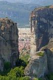Meteora Rocks and Kalampaka Town Royalty Free Stock Images